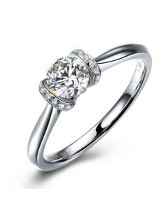 Diamants sertis - Or blanc 18 carats - Bague solitaire