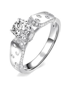 Bague Fiançaille Solitaire Or blanc. Diamants 0.80ct
