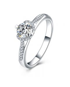 Bague Solitaire Amélia - Or Blanc 0.45ct & Diamant Central 0.35ct | Gemperles
