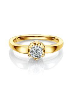 Bague Solitaire Agartha Or Jaune 750/1000 - Pendentif Diamants Sertis | Gemperles