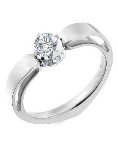 Solitaire anneau bombé - Or blanc- Couronne diamants 0.58ct   Jefferson