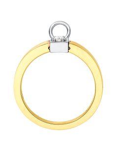 Solitaire pendentif - Bague de mariage en or blanc, jaune et diamants   Gemperles