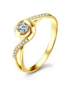 Anello Solitario Composto A Julie - Oro Giallo & Diamante | Gemperles