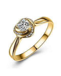 Solitaire Mon Coeur de Rose - Bague Or Jaune & Diamants | Gemperles