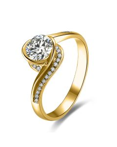 Bague Solitaire Or Jaune, Diamants 0.42ct - Baudelaire, A une Madone | Gemperles