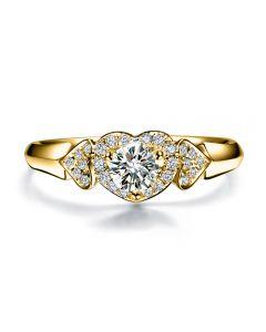 Bague Solitaire Coeurs Splendides - Or Jaune & Diamants | Gemperles