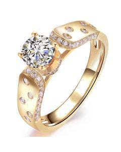Bague Fiançaille Solitaire Or jaune. Diamants 0.80ct