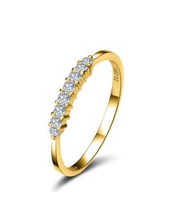 Bague anneau or jaune 18 carats - Alignement 8 diamants 0.20ct