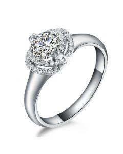Bague Solitaire Gracieuse Majesté - Platine & Diamants Enroulés | Gemperles