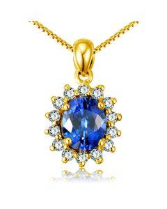 Breloque en fleur - Or jaune 18 carats - Diamants et saphir