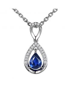 Pendeloque Or blanc 18 carats - Saphir et Diamants en poire