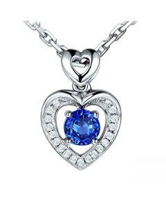 Pendentif Coeur saphir et diamants. Or blanc