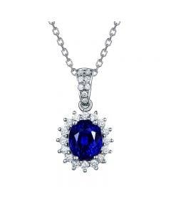 Pendentif Or blanc diamants et saphir 1.50cts