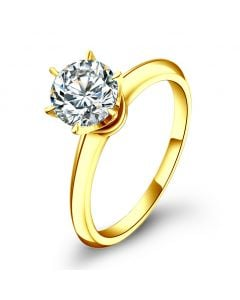 Solitaire en diamant taille brillant - Monture or jaune Timeless