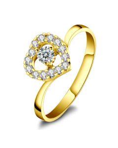 Coeur Diamanté - Solitaire Bague en Diamants et Or Jaune | Gemperles