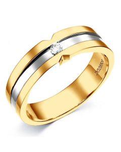 Bague Homme en Or jaune et  blanc, Diamant 0.055ct   Horace