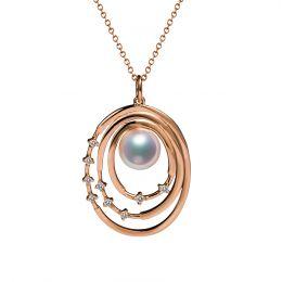 Pendentif perle Akoya Or rose et diamants. Triple cercle