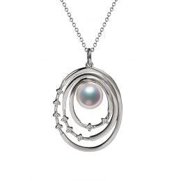 Pendentif perle Akoya Or blanc et diamants. Triple cercle