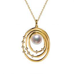 Pendentif perle Akoya Or jaune et diamants. Triple cercle