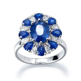 Bague saphir diamant marguerite -  Or blanc