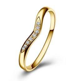 Alliance Ondulée Élysée - En Or Jaune et Diamants Sertis | Gemperles