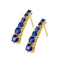 Boucle oreille Montecristo blue - Saphir, or jaune