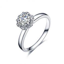 Solitaire Captivante Renoncule - Bague Diamanté & Or Blanc | Gemperles