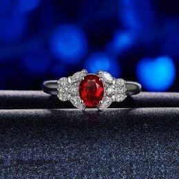 Bague Fiancaille Carlita Rubis Diamants Or Blanc