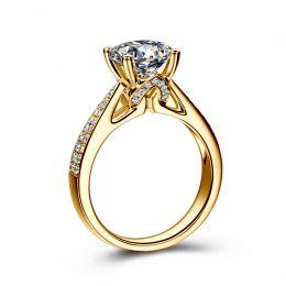 Bague de Fiancaille Lafayette - Solitaire épaulé Or Jaune, Diamant | Gemperles