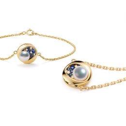 Bracelet perle Akoya - Diamant, saphir, Or jaune I Seiza