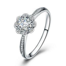 Bague solitaire diamants or blanc - Jasmin étoilé