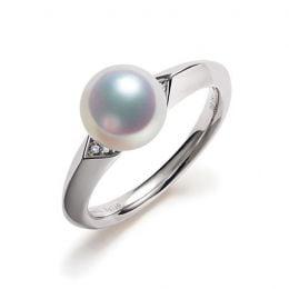 Bague Tsuguka - Or blanc, perle Akoya, diamant | Tsuguka