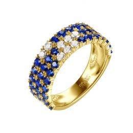 Bague blue lagoon - Pavée saphir & diamant - Or jaune