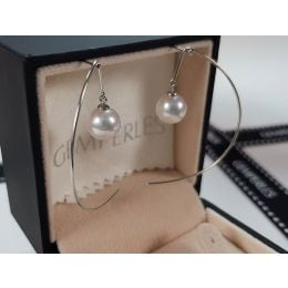 Crochet d'oreilles Simplicity. Perles Akoya Or blanc. Minimaliste
