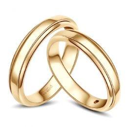Anneaux d'or jaune 750/1000 - Alliances androgynes duo - Diamants   Annabelle & Adam