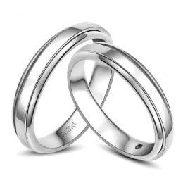 Anneaux platine. Alliances androgynes duo. Diamants | Madeline & Horizon
