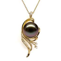 Pendentif phoenix - Perle de Tahiti noire - Or jaune, diamants