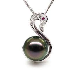 Pendentif cygne or blanc - Perle de Tahiti - Diamants, saphir rose