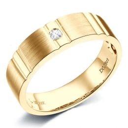 Bague dentelée pour homme or jaune brossé et poli 18 carats, Diamant | Hamlet