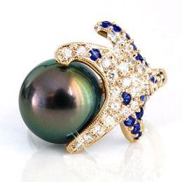 Anello Fatu Hiva - Oro Giallo, Diamanti e Perla di Tahiti