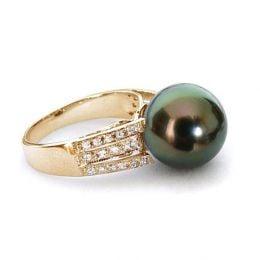Anello Océan - Oro Giallo, Diamanti e Perla di Tahiti
