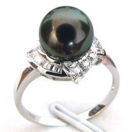 Anello Uracane - Oro Bianco, Diamanti e Perla di Tahiti