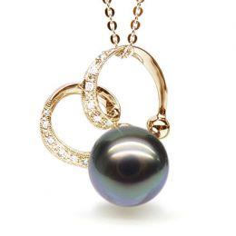 Pendentif double boucle or jaune - Perle de Tahiti - Or jaune, diamants
