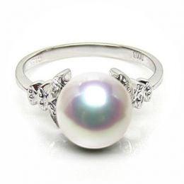 Anello Kiku - Oro Bianco, Diamanti e Perla Akoya Bianca