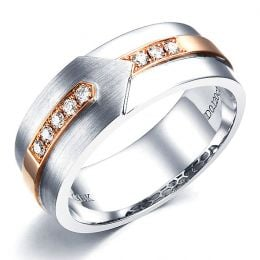 Bague Homme moderne. Or blanc et rose 18cts, 8 Diamants VS / G   Camillo