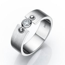 Bague en or pour homme - Or blanc brossé 18cts - Diamant 0.083ct