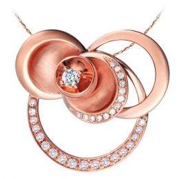 Pendentif courbe sinueuse or rose - Arcs diamantés et diamant central