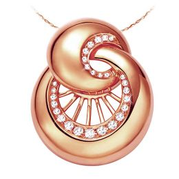 Pendentif coquillage or rose 18 carats - 27 Diamants 0.26ct
