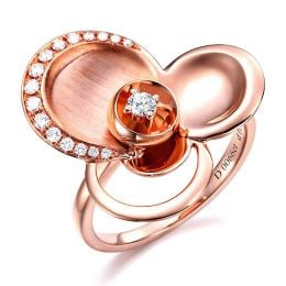 Bague diamants - Bague de fiançaille - En or rose 18 carats