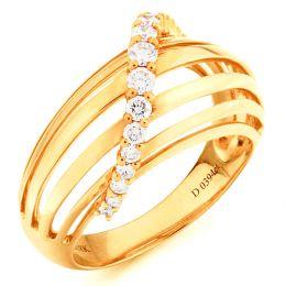 Bague contemporaine or - Barrettes or jaune, diamant - Diamants 0.394ct